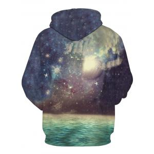Galaxy Moon 3D Print Pullover Hoodie - COLORMIX 2XL
