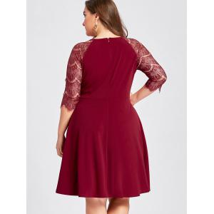 Plus Size Lace Openwork Cocktail Party Dress - RED 2XL