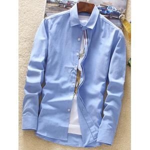 Stripe Embroidery Covered Button Casual Shirt - AZURE 3XL