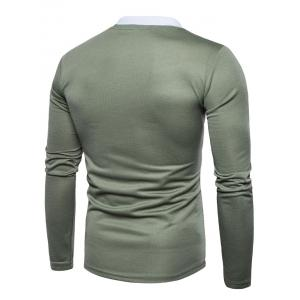 Edging Long Sleeve Polo T-shirt - ARMY GREEN XL