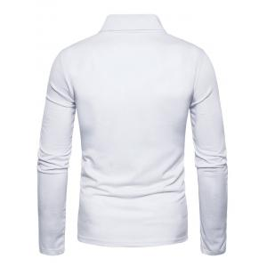 Long Sleeve Polyester Panel Polo T-shirt - WHITE 2XL