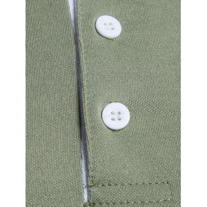 Edging Long Sleeve Polo T-shirt - ARMY GREEN 2XL