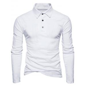 Long Sleeve Polyester Panel Polo T-shirt - WHITE XL
