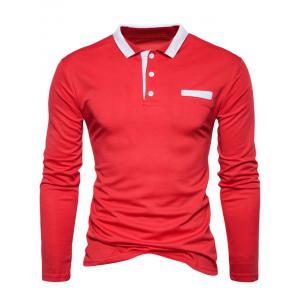 Edging Long Sleeve Polo T-shirt - RED 2XL