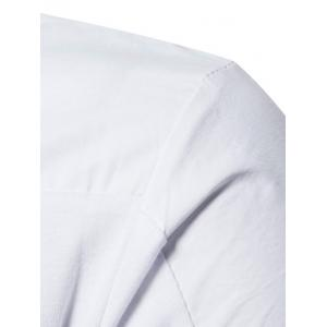 Long Sleeve Polyester Panel Polo T-shirt - WHITE S