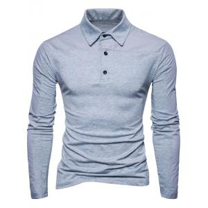 Long Sleeve Polyester Panel Polo T-shirt - LIGHT GRAY 2XL