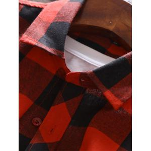 Long Sleeve Graphic Print Plaid Shirt - RED 5XL