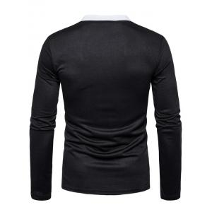 Edging Long Sleeve Polo T-shirt - BLACK XL