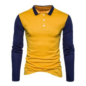 Color Block Long Sleeve Polo T-shirt - YELLOW M