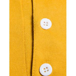 Color Block Long Sleeve Polo T-shirt - YELLOW L
