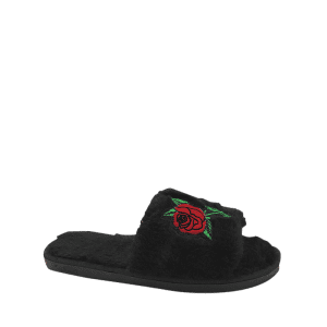 Open Toe Faux Fur Embroidery Flower Slippers - BLACK SIZE(36-37)