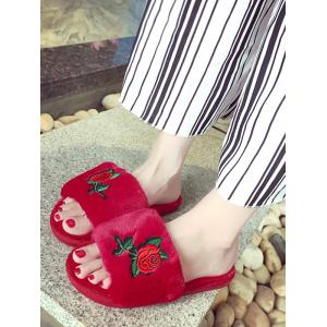 Open Toe Faux Fur Embroidery Flower Slippers - RED SIZE(36-37)