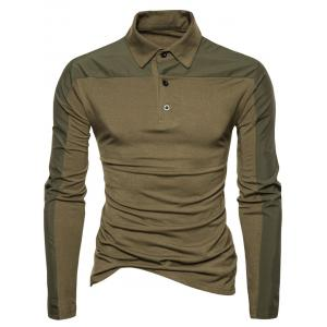 Long Sleeve Polyester Panel Polo T-shirt - ARMY GREEN S
