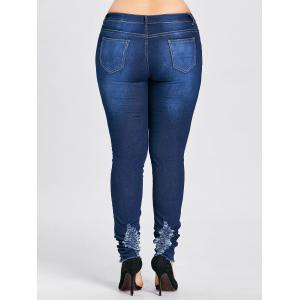 Plus Size Hole Destroyed High Waist Jeans - CERULEAN 3XL