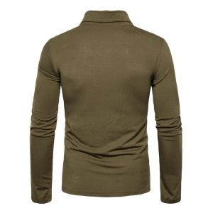 Long Sleeve Polyester Panel Polo T-shirt - ARMY GREEN L