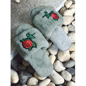Open Toe Faux Fur Embroidery Flower Slippers - GRAY SIZE(36-37)