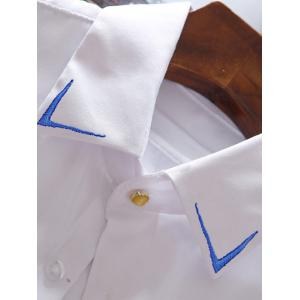 Embroidery Detail Long Sleeve Shirt - WHITE 3XL
