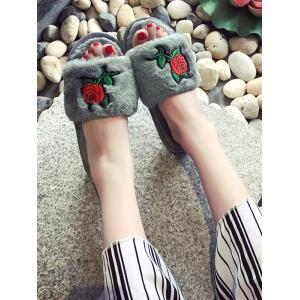Open Toe Faux Fur Embroidery Flower Slippers - GRAY SIZE(38-39)