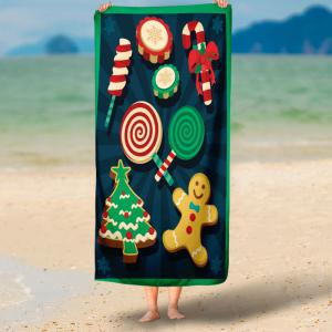 Christmas Biscuit Candy Print Bath Towel -