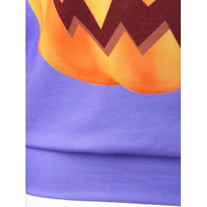 Halloween Plus Size Skew Neck Pumpkin Print Pullover Sweatshirt - PURPLE XL