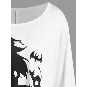 Plus Size Halloween Witch Print Asymmetrical T-shirt - WHITE XL