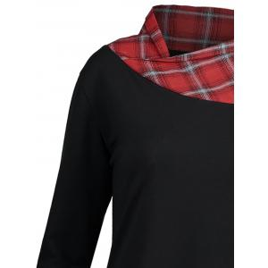 Long Plus Size Lace Plaid Panel Top - BLACK AND RED 5XL