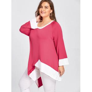 Contraste Plus Size Long Handkerchief Hem T-shirt -