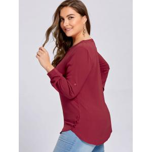 Plus Size Button Embellished High Low Blouse - WINE RED 3XL