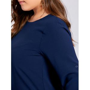 Plus Size Button Embellished High Low Blouse - PURPLISH BLUE 5XL
