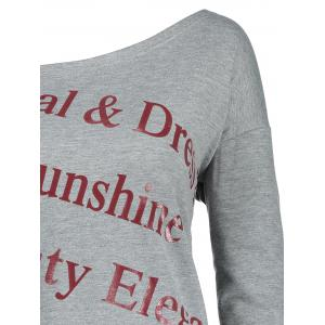 One Shoulder Plus Size Letter Print Sweatshirt - GRAY 5XL