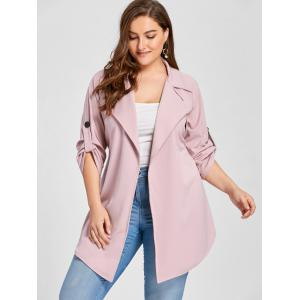 Manteau en tricot Lapel - ROSE PÂLE 3XL