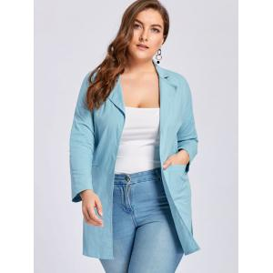 Plus Size Slit Lapel Drop Shoulder Coat - AZURE 3XL