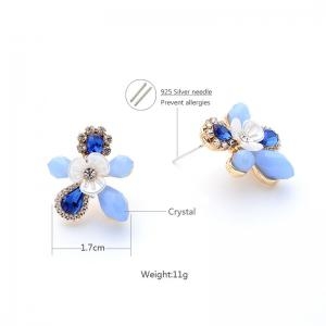 Faux Sapphire Rhinestone Flower Stud Earrings -