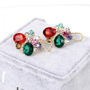 Faux Gem Crystal Oval Stud Earrings - COLORMIX