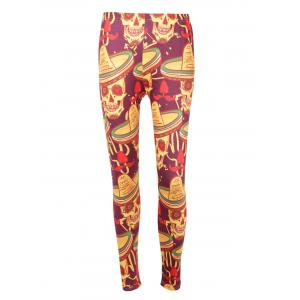 Skull Print High Waisted Halloween Leggings - COLORMIX XL