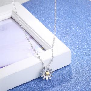 Flower Sterling Silver Pendant Necklace - SILVER
