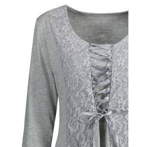 Lace Insert Lace Up Top - GRAY L