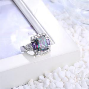Sparkly Faux Crystal Gem Finger Ring - SILVER 9