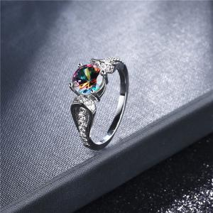 Faux Crystal Gem Round Sparkly Ring - SILVER 7