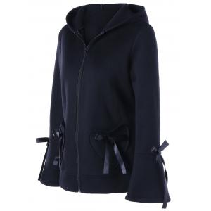 Heart Pockets Lace-up Hooded Zip Up Jacket - BLACK L