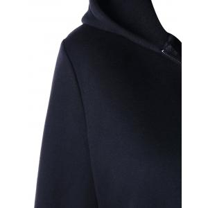 Heart Pockets Lace-up Hooded Zip Up Jacket - BLACK 2XL