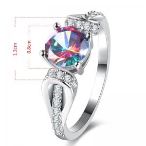 Faux Crystal Gem Round Sparkly Ring - SILVER 9
