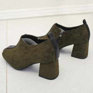 Square Toe Color Block Ankle Pumps - GREEN 37
