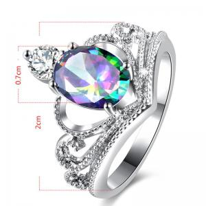 Sparkly Faux Gem Crystal Oval Ring - SILVER 8
