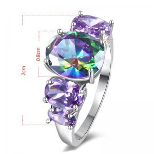 Faux Gem Crystal Oval Sparkly Ring - Argent 7