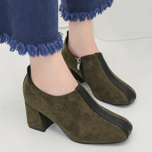 Square Toe Color Block Ankle Pumps - GREEN 36