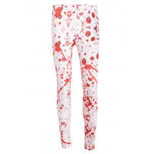 Blood Splatter High Waisted Halloween Leggings - WHITE L