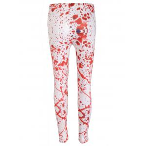 Blood Splatter High Waisted Halloween Leggings - WHITE XL