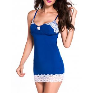 Lace Panel Bodycon Babydoll - BLUE M
