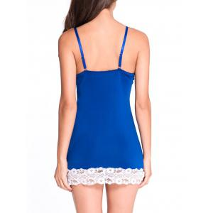 Lace Panel Bodycon Babydoll - BLUE L